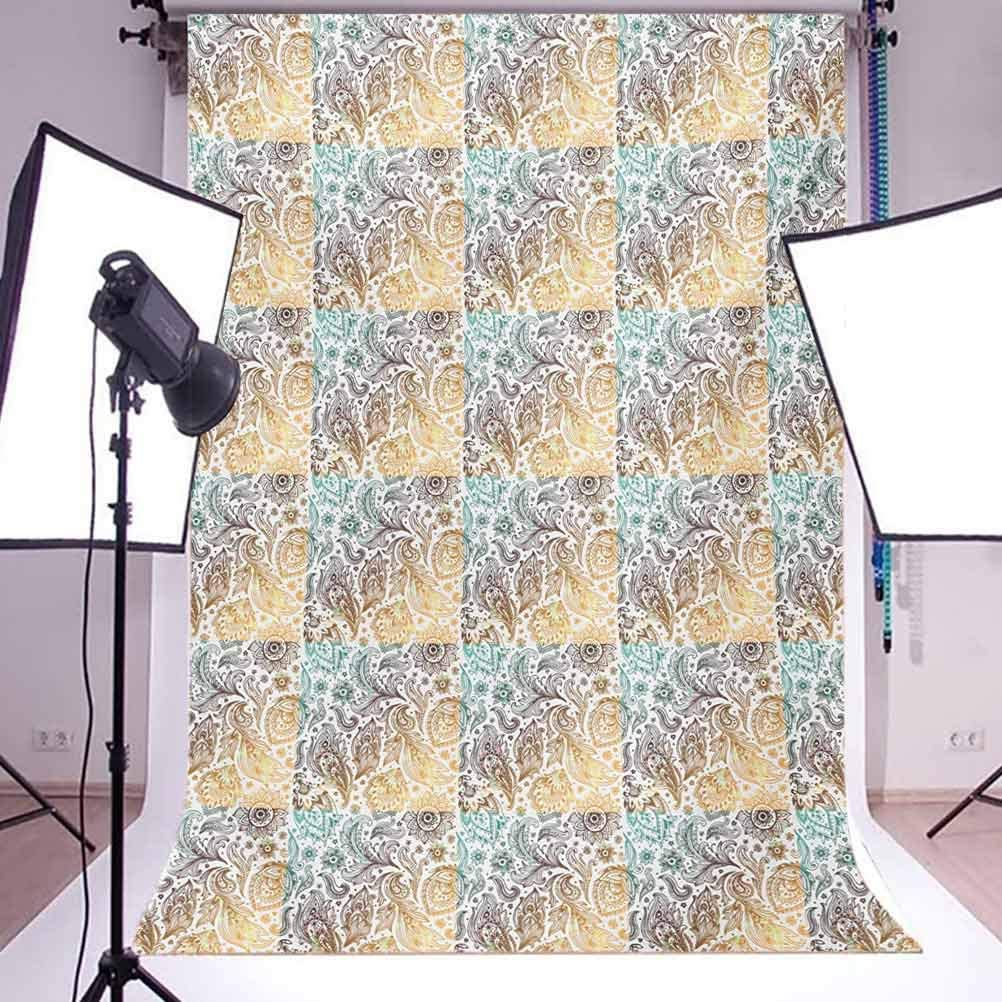 Floral 8x10 FT Photo Backdrops,Fashion Woman Girl Body with Flower Petal Leaves Modern Design Model Image Background for Baby Birthday Party Wedding Vinyl Studio Props Photography Turquoise Teal Whit