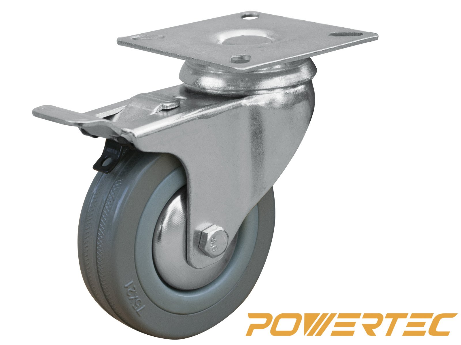 POWERTEC 17023 3-Inch Swivel Double Lock Rubber Plate Caster, Grey