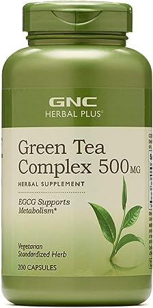 GNC Herbal Plus Green Tea Complex 500mg, 200 Vegetarian Capsules, Supports Metabolism