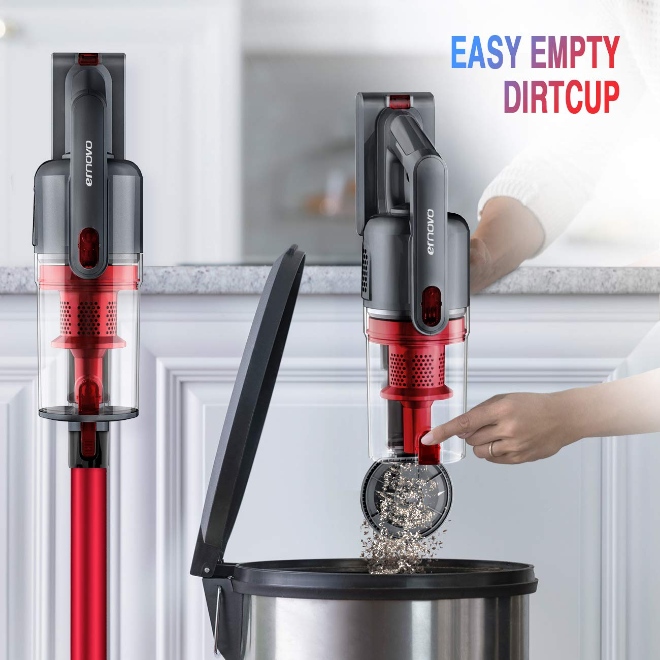 Ernovo Cordless Stick Vacuum Cleaner 4 in 1 Lightweight 9KPa Handheld Vacuum HEPA Filtration 2 Speed Suction LED Light for Dust 3 Year Warranty Home Car or Upholstery Cleaning Pet Hair