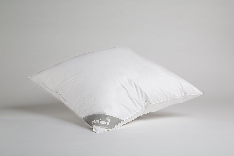 Yumeko Kopfkissen - Kissen Daunen - Weich - 80x80 cm - 90% Entendaunen - 100% biologische Baumwolle - ökologisch - Nomite Label - antiallergisch