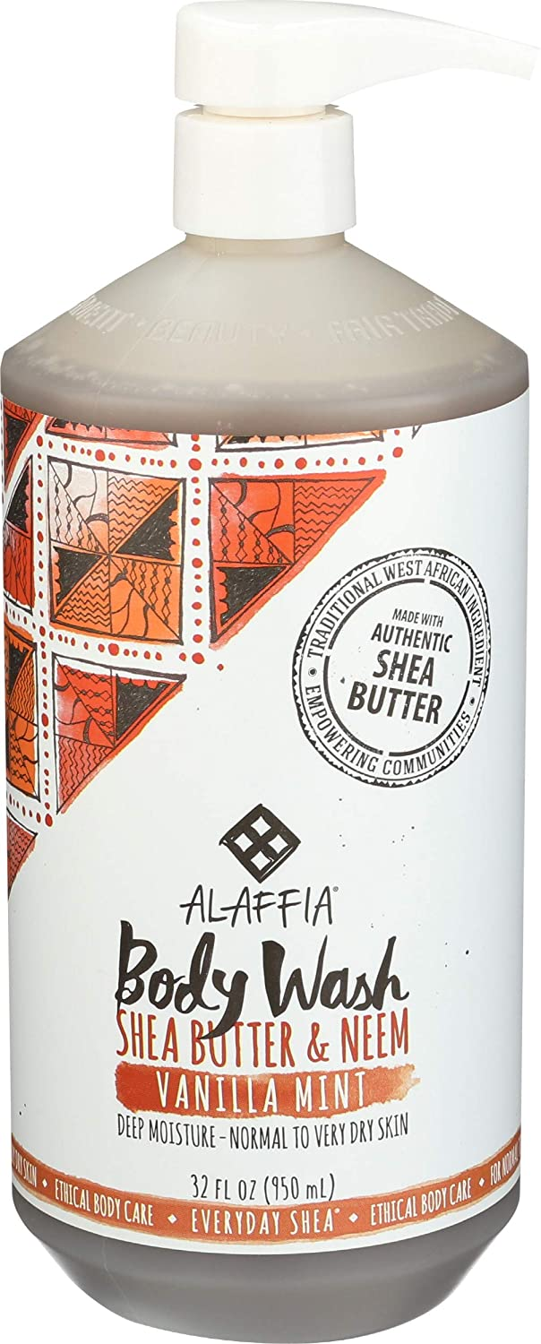 Alaffia - Everyday Shea Body Wash, Naturally Helps Moisturize and Cleanse without Stripping Natural Oils with Shea Butter, Neem, and Coconut Oil, Fair Trade, Vanilla Mint, 32 Ounces