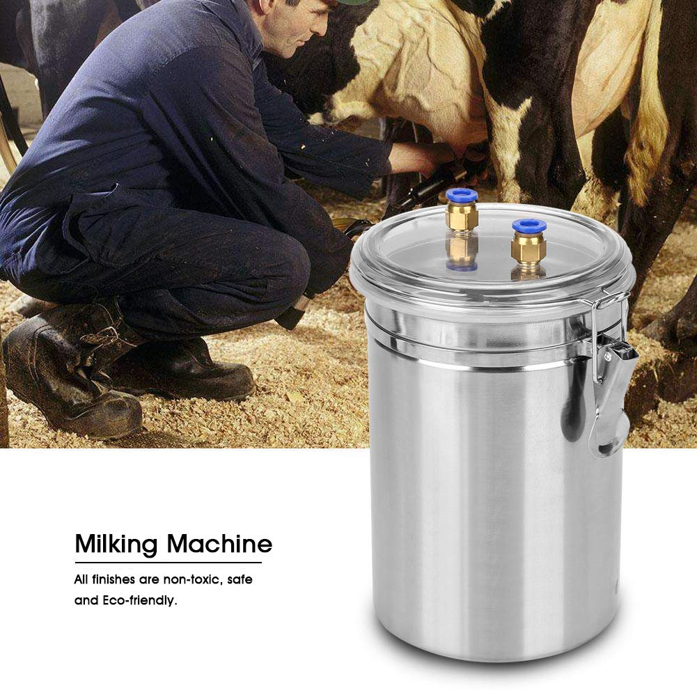 Goat in Home Small-scalefarm Ewes Goat Milking Machine Electric 2L Portable Sheep Milker Stainless Steel Mini Bucket Milk Machine Milker for Sheep