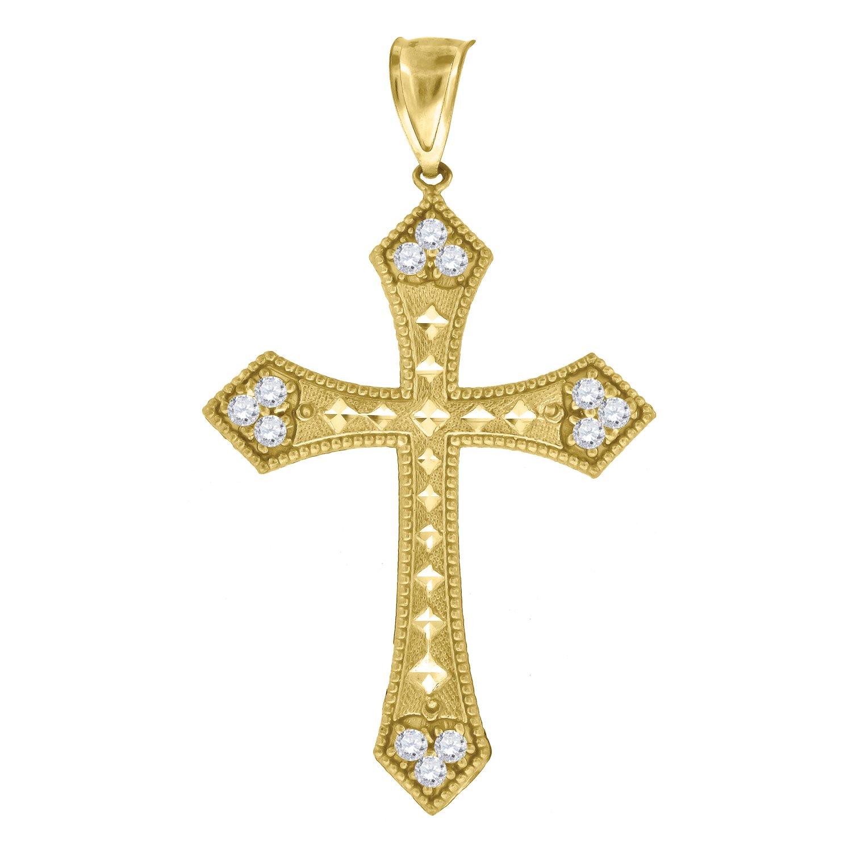 10kt Yellow Gold Unisex Cubic Zirconia CZ Cross Religious Charm Pendant