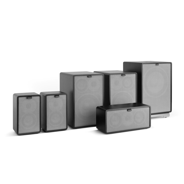 walnuss NUMAN Retrospective 1978 MKII 5.1 Soundsystem Heimkinosystem Lautsprecher-Set 4X Regallautsprecher, 1x Center-Lautsprecher, 1x Subwoofer, inkl. dunkel braunem Cover