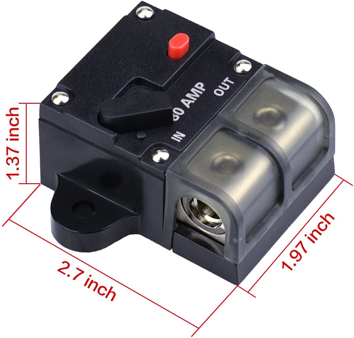 4 AWG to 3//8 AWG 50AMP 50A DC 12V-24V Car Stereo Audio Circuit Breaker with Manual Reset Inline Fuse Holder and Battery Cable Ends Closed End Crimp Connectors /—