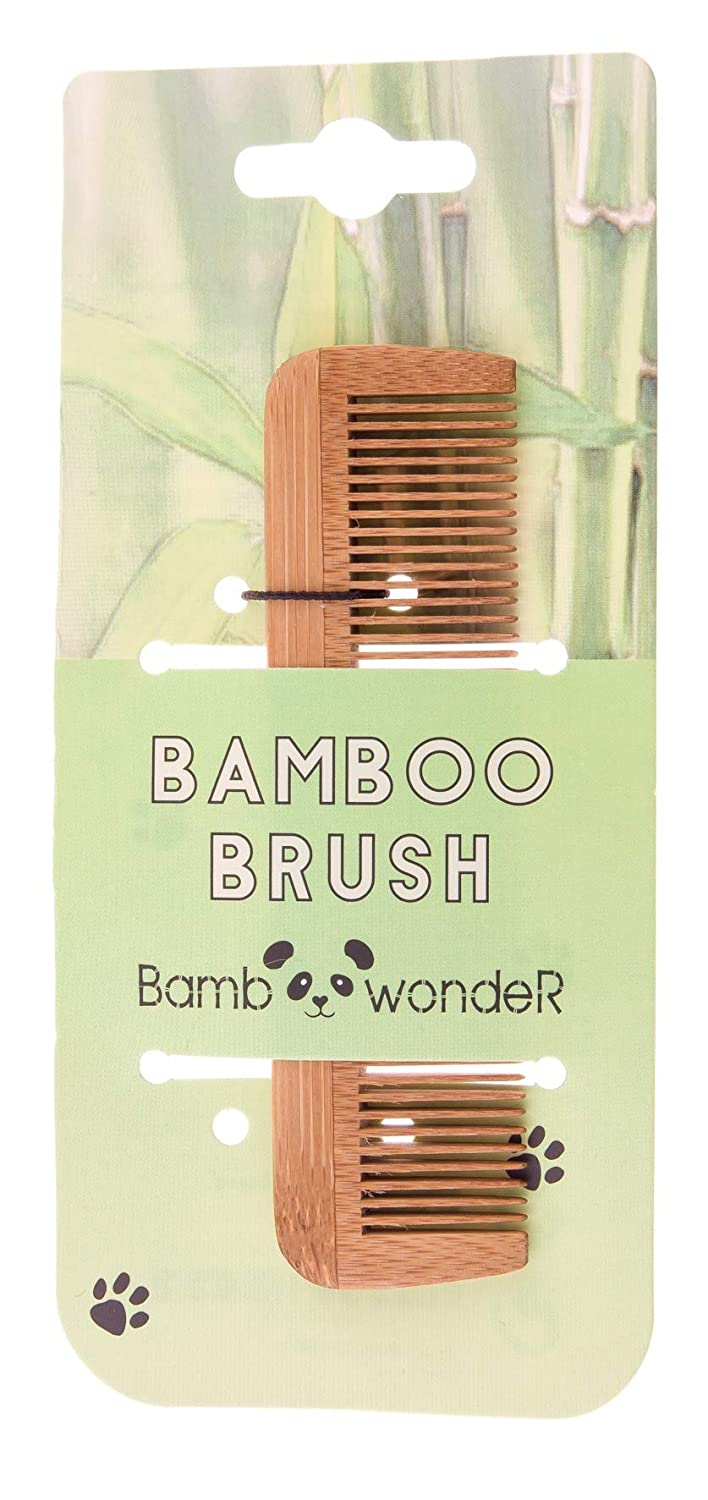 Bamboo Small Hair Comb - Bamboo Wonder 100% Eco-Friendly Mustache Beard Comb with Fine & Coarse Teeth for All Hair Types – Wooden Pocket Comb with Carrying Pouch. By Bamboo Wonder® China