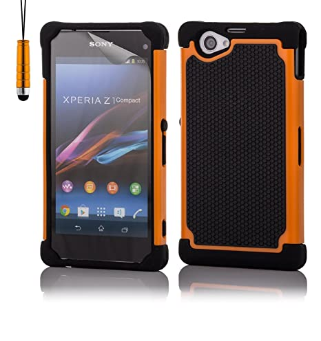 32nd® Funda Rígida Anti-Choques de Alta Proteccion para Sony Xperia Z1 Compact (D5503) Carcasa Defensora de Doble Capa - Naranja