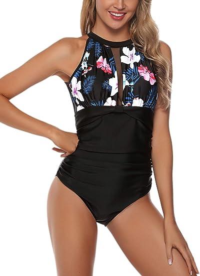 iClosam Maillot de Bain Femme Une Pi/èce Swimsuit Bikinis Grande Taille Dos Nu Pleated Halter Twist