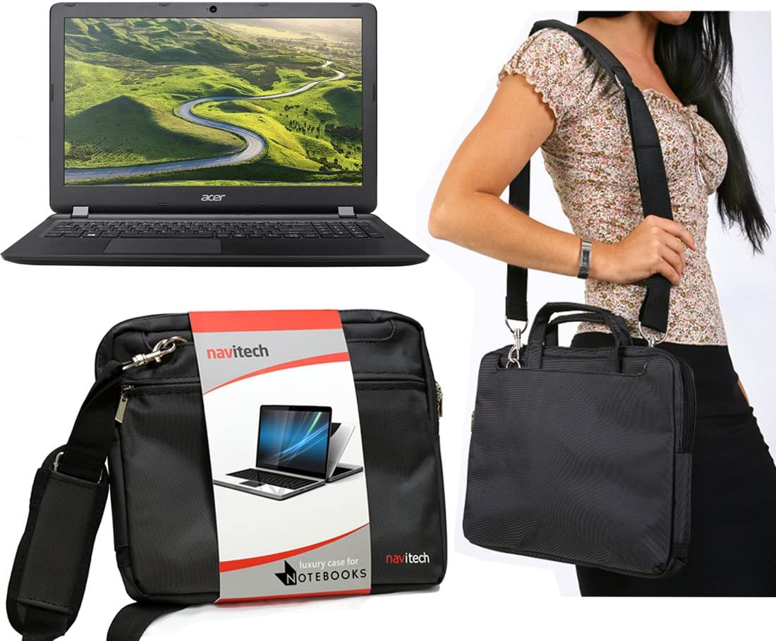 Navitech Black Sleek Premium Water Resistant Shock Absorbent Carry Bag Case Compatible with TheAcer TravelMate Spin B1 11