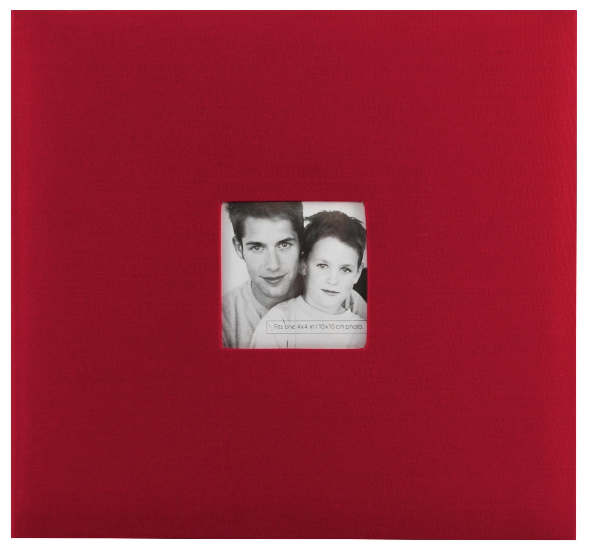 MCS MBI 13.5x12.5 Inch Fashion Fabric Scrapbook Album with 12x12 Inch Pages with Photo Opening, Red (802513)