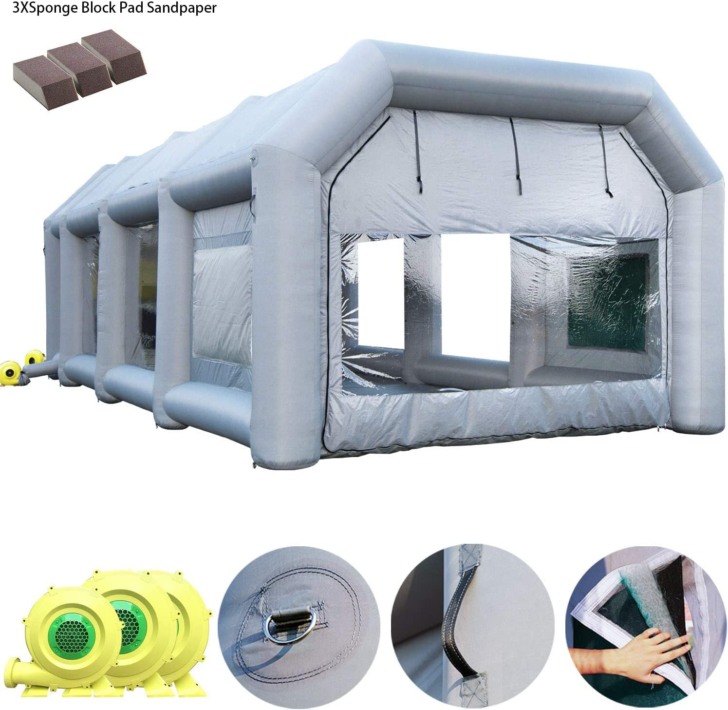 Gray, 33x16x11ft Inflatable Spray Booth Inflatable Car Paint Booth with Filtration System Mobile Car Parking Tent Workstation
