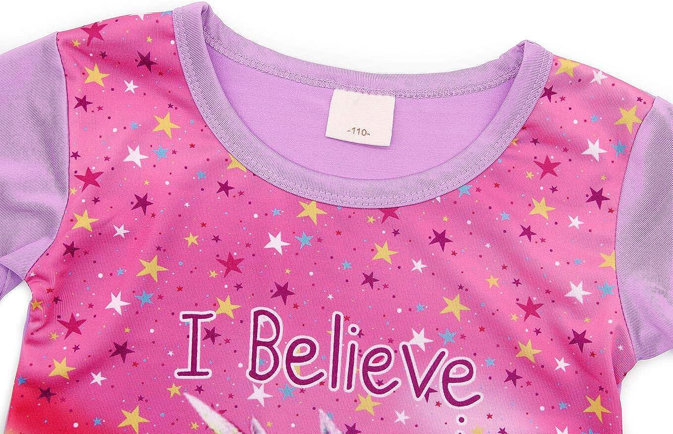 AmzBarley Camis/ón de Algod/ón Pijama Ni/ña Unicornio Chica Manga Larga Vestido Fiesta Entero una Pieza Ropa de Dormir Traje Disfraz Ducha Noche
