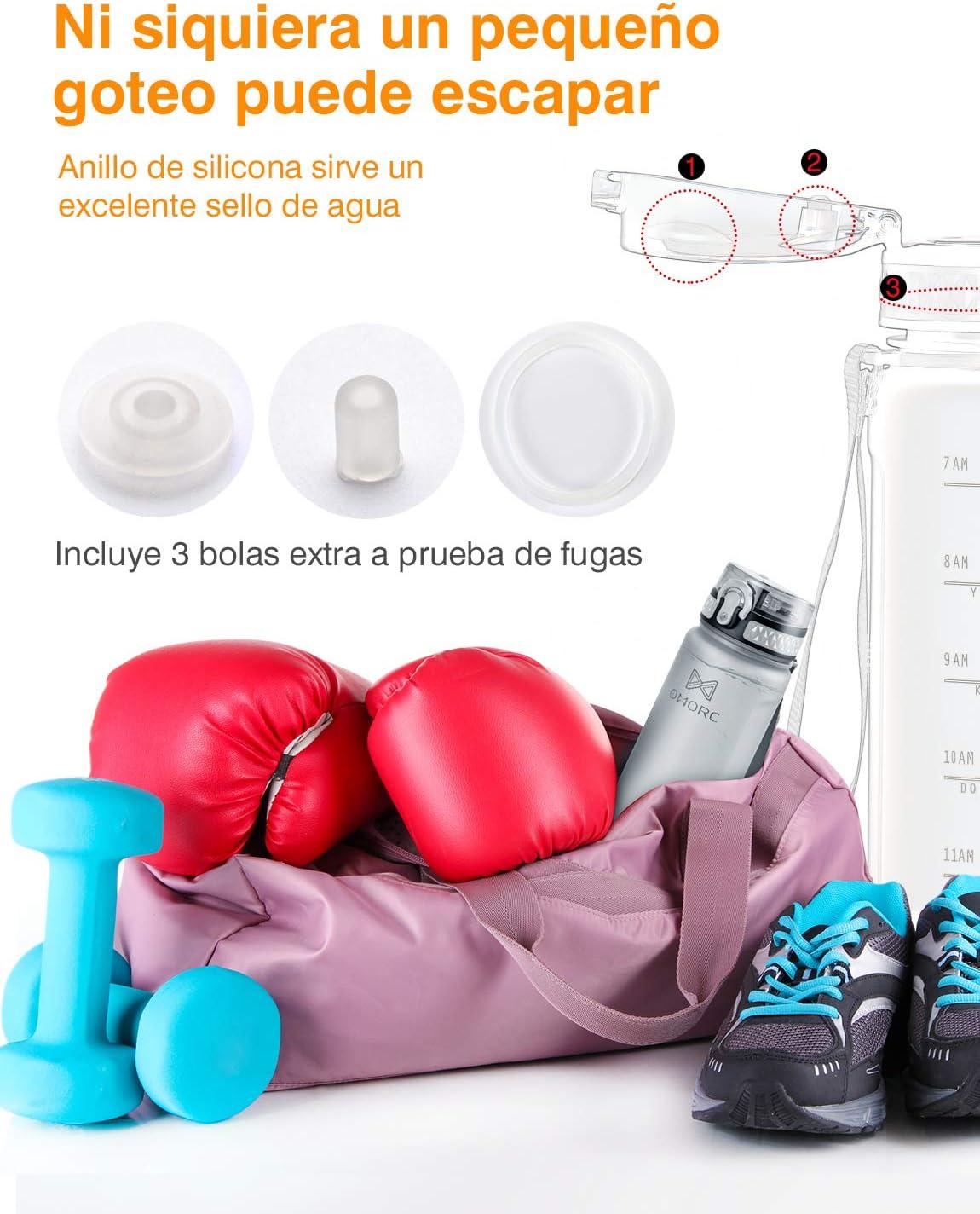 Botella Plastica Tritan Reutilizable Filtro 900ml Cepillo de Limpieza/&Marcador de Tiempo Botella Agua Gimnasio OMORC Botella Agua Deporte sin BPA