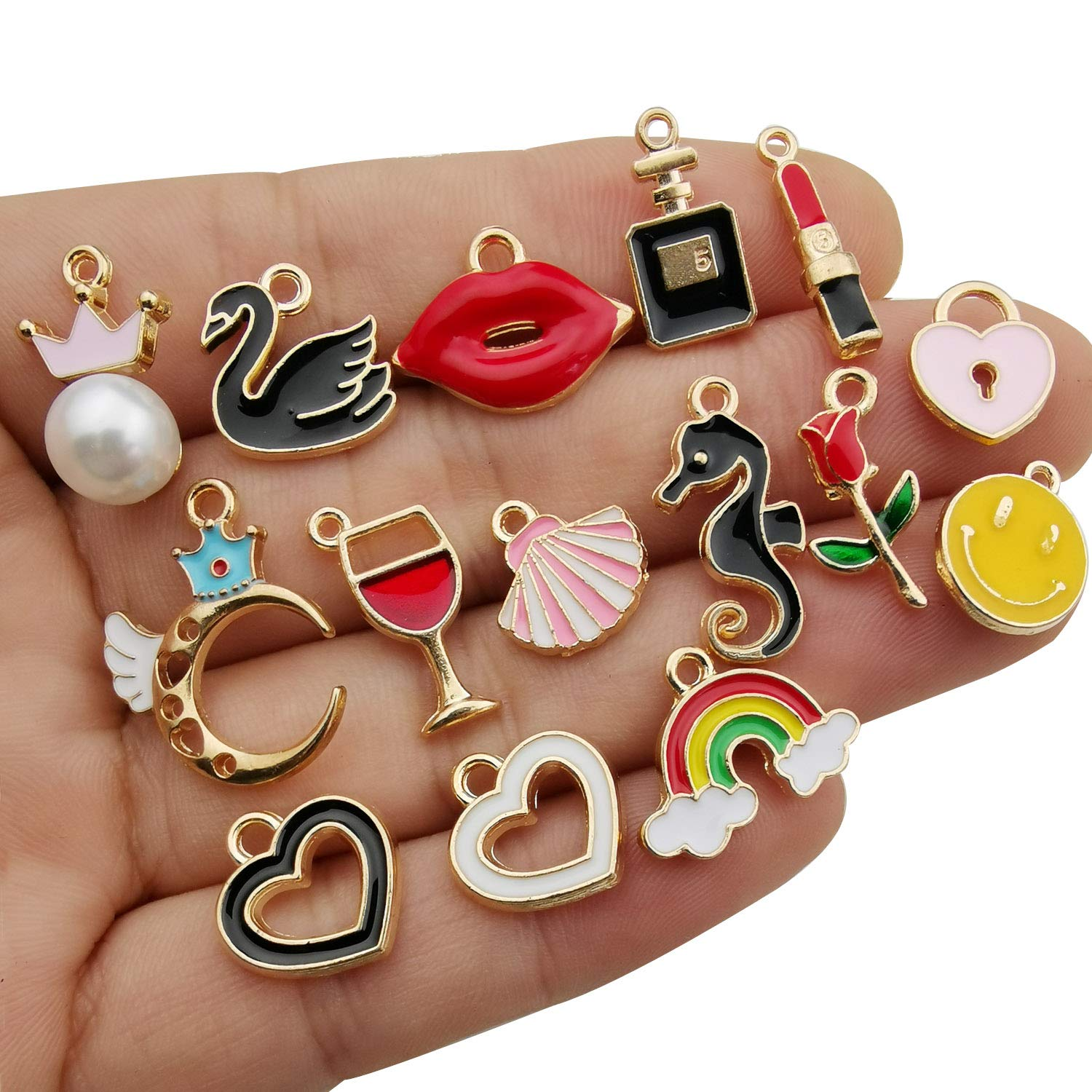 iloveDIYbeads 30pcs Assorted Enamel Gold Plated Animals Fruit Moon Star Dainty Dangle Charm for Jewelry Making Necklace Bracelet Ankle Earring Jewelry DIY Findings M300