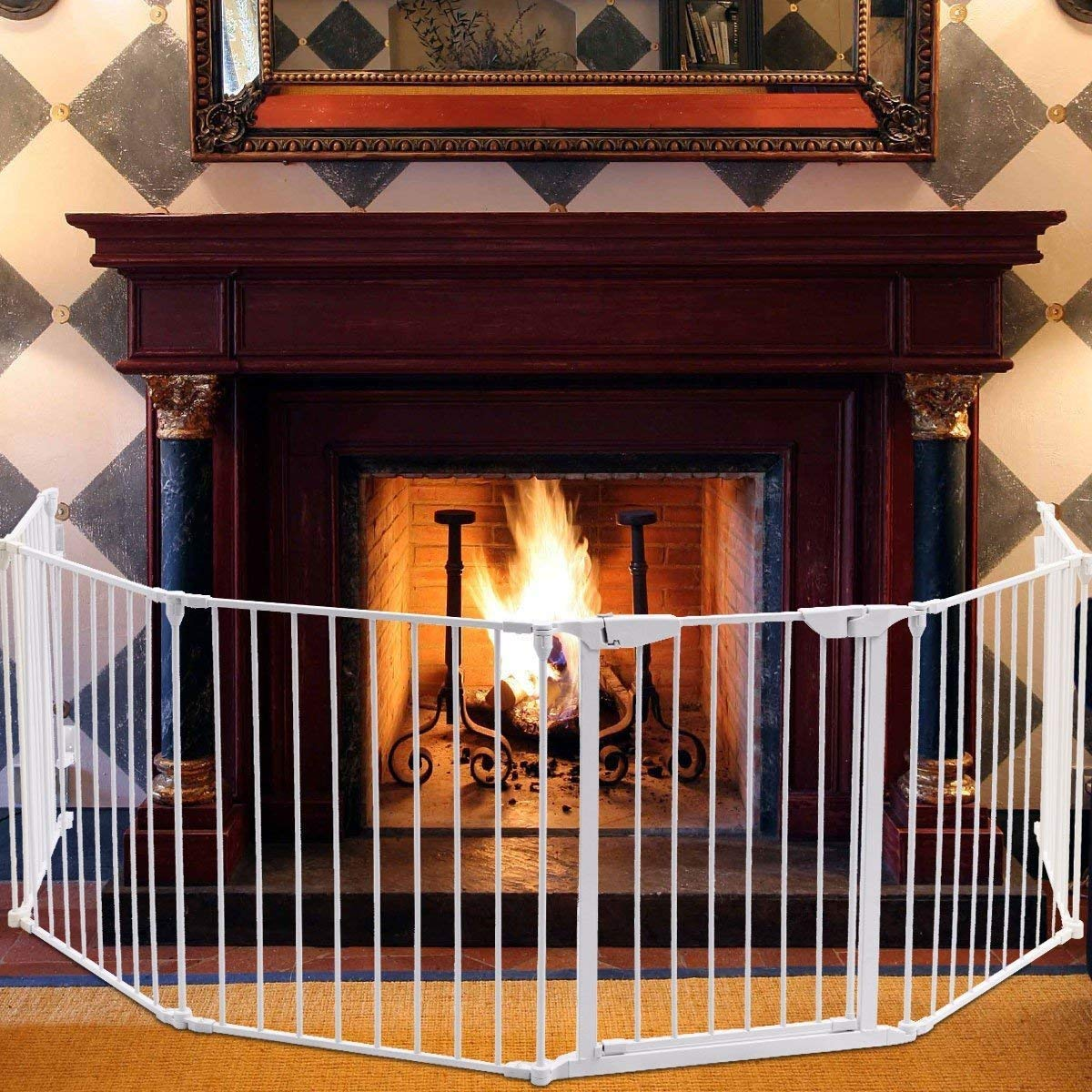 Teekland White Baby Safety Gate/Baby Protect Walls/Fireplace Fence/Dog Gates Indoor/Play Yard with Door,6 Panels Fireplace Extended Metal Fence for Pet/Toddler/Dog/Cat/Christmas Tree by Teekland (Image #4)