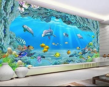 Kuamai Hd Personalizado Gran Mundo Submarino Coral Agujero 3D Salón Tv Acuario De Pared De Fondo