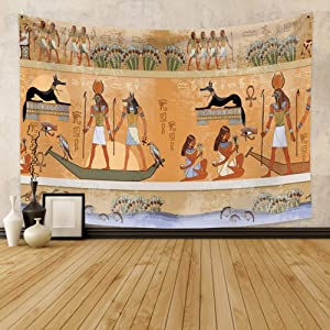 Qinunipoto Egyptian Tapestry Ancient Egypt Mythology Tapestry Wall Hanging Egyptian Gods Pharaohs Hieroglyphic Carvings Papyrus Wall Psychedelic Decor for Living Room Bedroom Dorm Home Decor 39X27inch