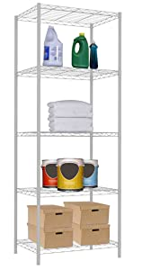 Home Basics Adjustable Heavy Duty Steel Wire Shelving Rack Utility Storage Unit for Kitchen Bathroom Office (5 Tier, White)