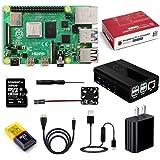 Raspberry Pi 4 Model B 4 GB キット-ラズベリーパイ 4/ 冷却ファン アルミニウム合金ケース/ 5V/3Aスイッチ付電源 32GBのmicroSDカード カードリーダー/HDMIアダプター ドライバー /4GB RAM