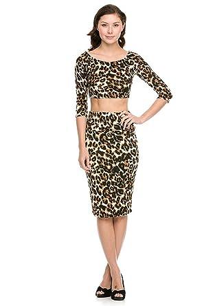 96fad5b8b47895 2 Women s Piece Leopard Print Crop Top and Midi Skirt Set(TOP-SHT ...