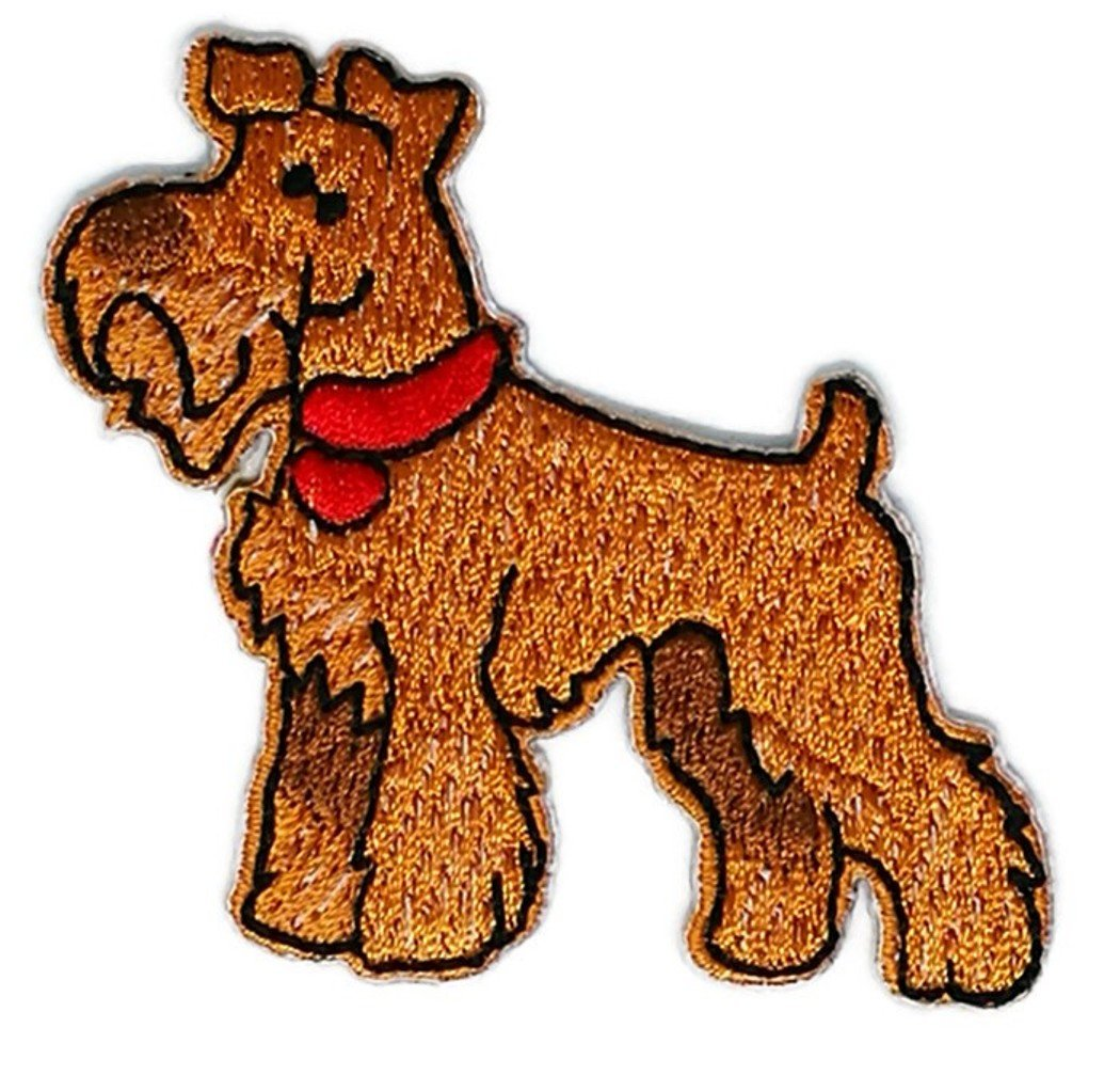 Airedale Terrier Dog Cartoon Embroidered Sew Iron on Patch Cartoon Sew Iron on Embroidered Applique Craft Handmade Baby Kid Girl Women Cloths DIY Costume Accessories Iron on patches