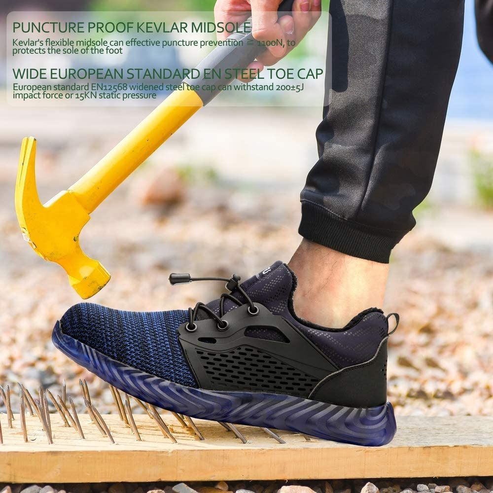KINOW Men Steel Toe Safety Work Shoes Slip Resistant Lightweight Outdoor Athletic Industrial Construction Sneakers for Women