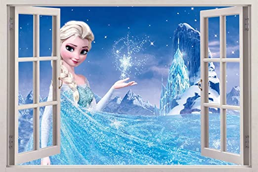 FROZEN ELSA 3D Window View Decal WALL STICKER Home Decor Art Mural Disney Kids