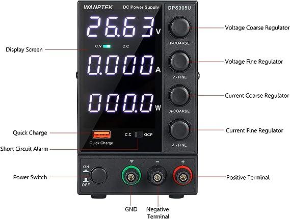 KKmoon DPS605U 0-60V 0-5A 300W Switching DC Power Supply 4 Digits Display LED High Precision Adjustable Mini Power Supply AC 115V//230V 50//60Hz DC Power Supply