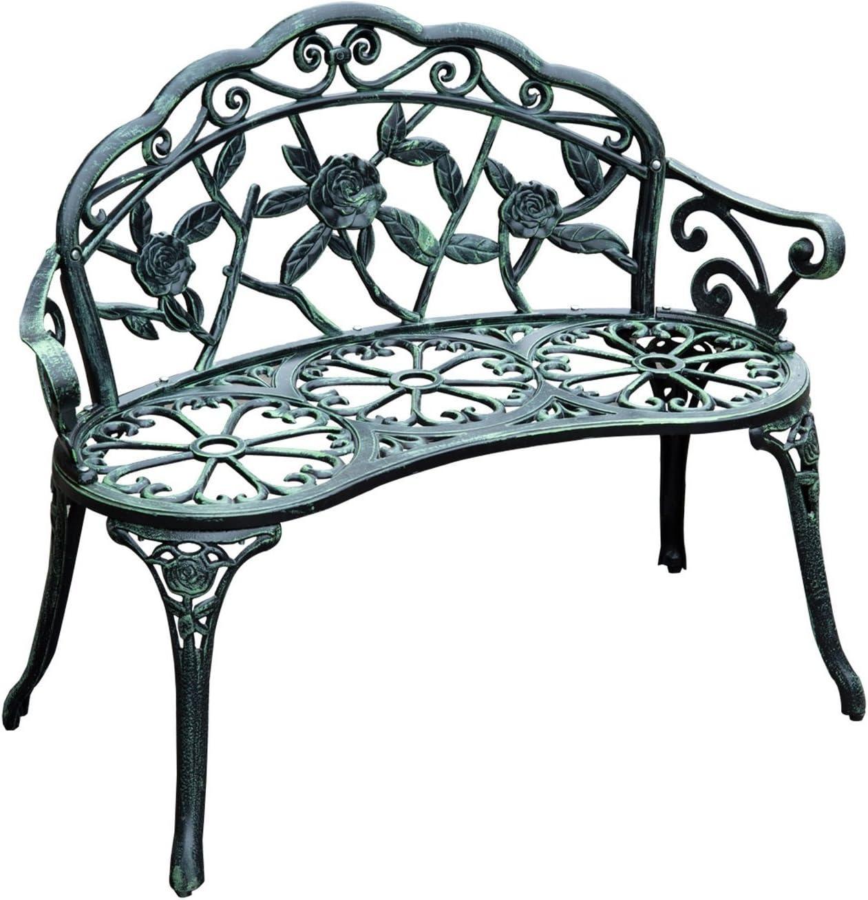 """Outsunny 40"""" Cast Aluminum Antique Rose Style Outdoor Patio Garden Park Bench - Antique Green : Garden & Outdoor"""