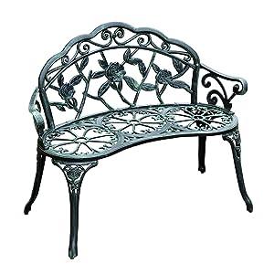 """Outsunny 40"""" Cast Iron Antique Rose Style Outdoor Patio Garden Park Bench - Antique Green"""