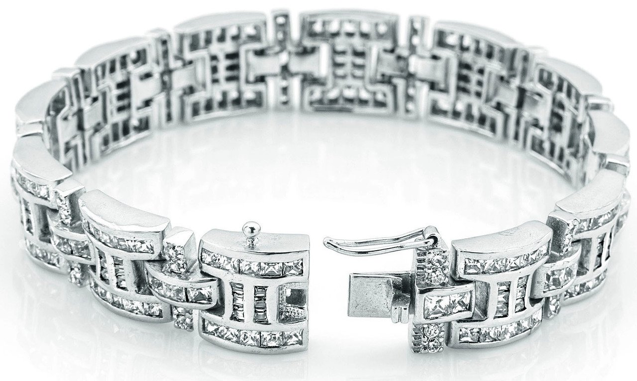 Men's Sterling Silver .925 Bracelet with 276 Channel set Fancy Princess Cubic Zirconia (CZ) Stones, Box Lock, Platinum Plated. Sizes available 8''9'' by Sterling Manufacturers (Image #2)