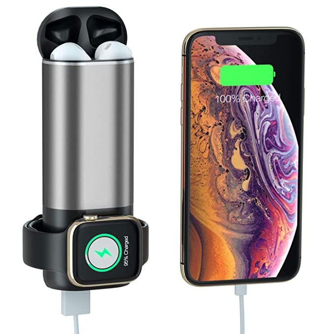 timeless design db5e4 06d2b Portable Charger for Apple Watch, 3 in 1 Charging Power Bank for iWatch  Series 4/3/2/1, AirPods, 5200mAh USB Output External Battery Pack for iPad,  ...