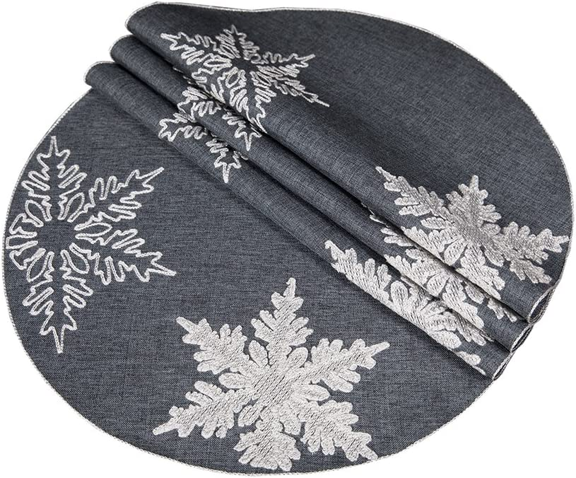 Xia Home Fashions XD17141 Glisten Snowflake Christmas Round Placemats, 16-Inch, Grey, 4 Piece