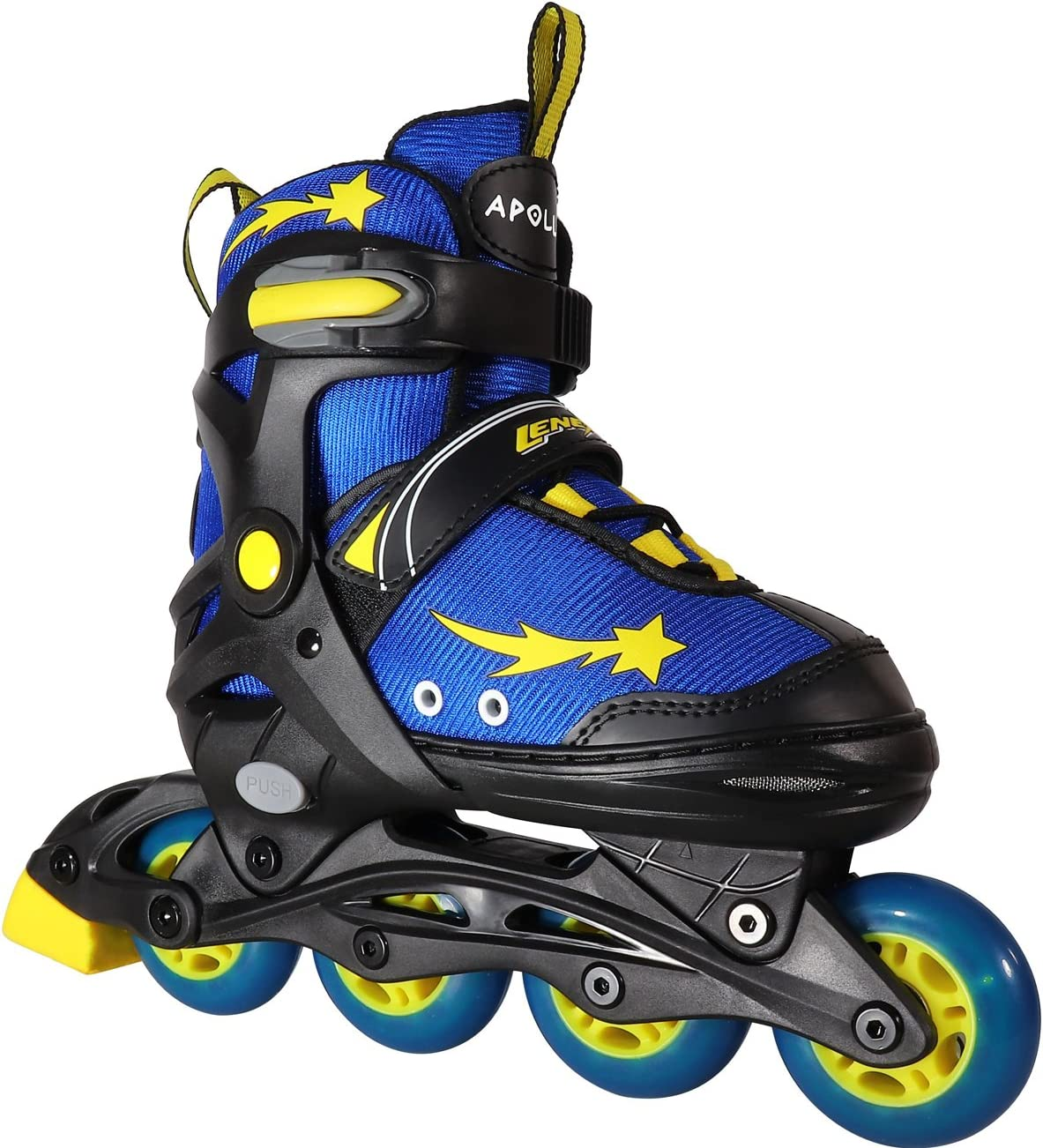 Lenexa Apollo Kids Roller Skate Blades – Patines Roller Skate Blades for a Kid Girl Girls, Boy Boys – Adjustable Comfortable Inline Skates for Children Blue Yellow Black