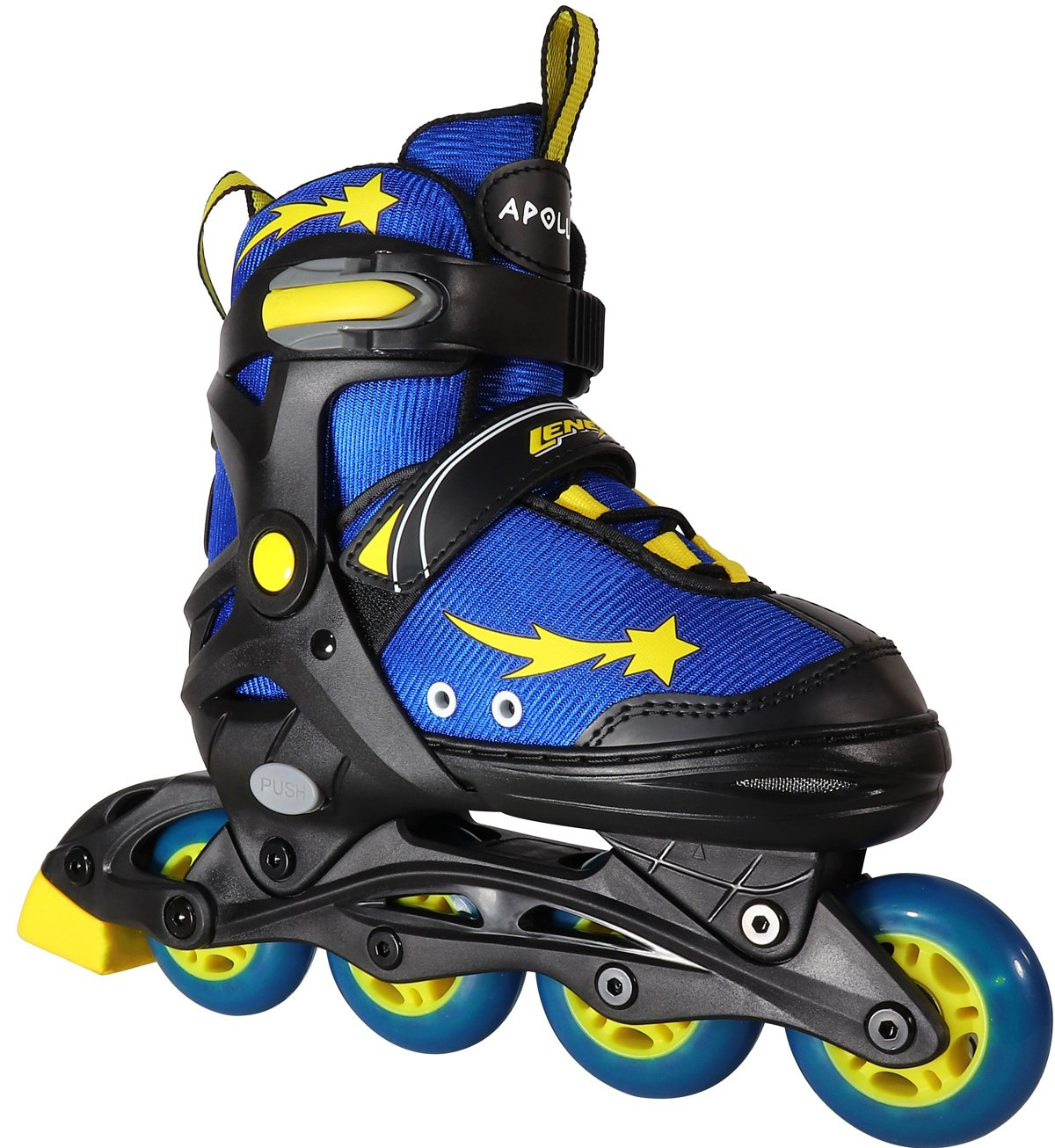 Lenexa Inline Skates for Girls and Boys with Adjustable Sizing Apollo Kids in-line roller skate blades | Comfortable fit | Safety non-slip wheels | Made for Fun (Blue/Yellow/Black)