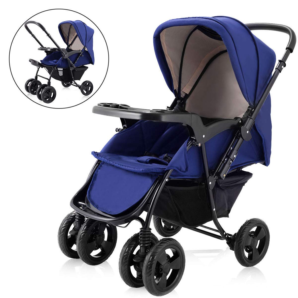 Two Way Stroller, Baby Foldable Conversable Pushchair w/ 5- Point Safety  Harness, Sleeping Cushion, Storage Basket, Free Standing by Costzon  (Sapphire