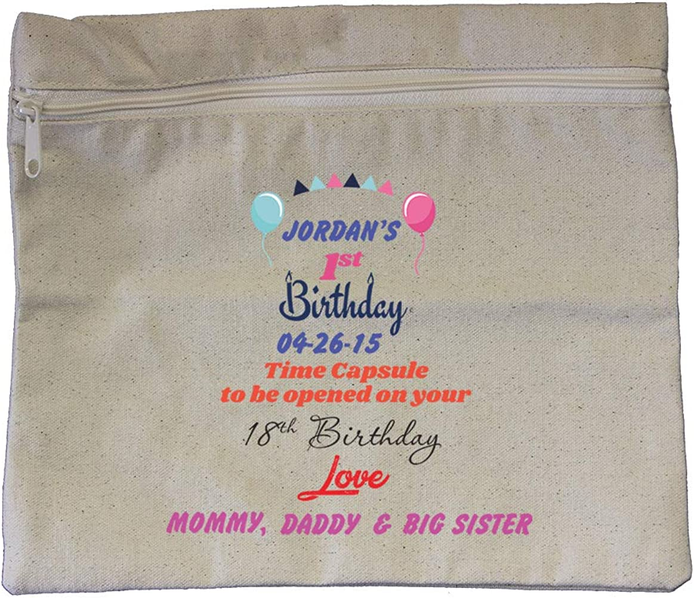 com custom first birthday time capsule cotton canvas