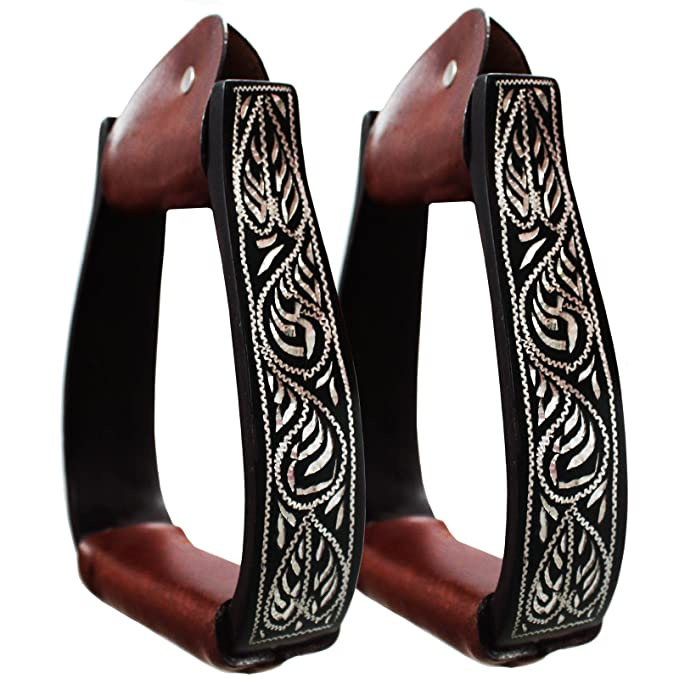 "Black Hand Etched Aluminum 5"" Adult Western Stirrups by Tahoe"