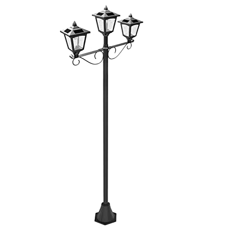 Upgrade solar powered 72 triple head street vintage outdoor garden upgrade solar powered 72quot triple head street vintage outdoor garden solar lamp post light mozeypictures Images