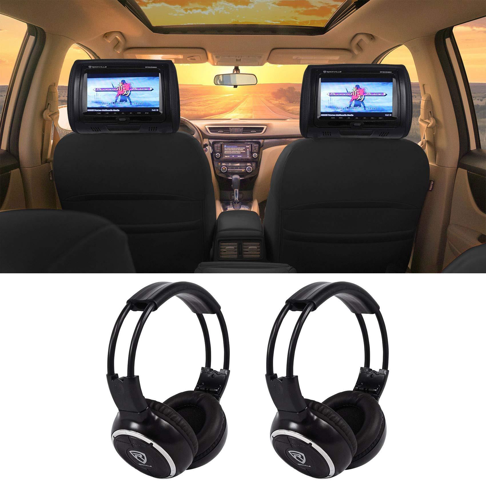 Rockville RTSVD961-BK 9 Black Touchscreen DVD/HDMI Headrest Monitors+Headphones by Rockville