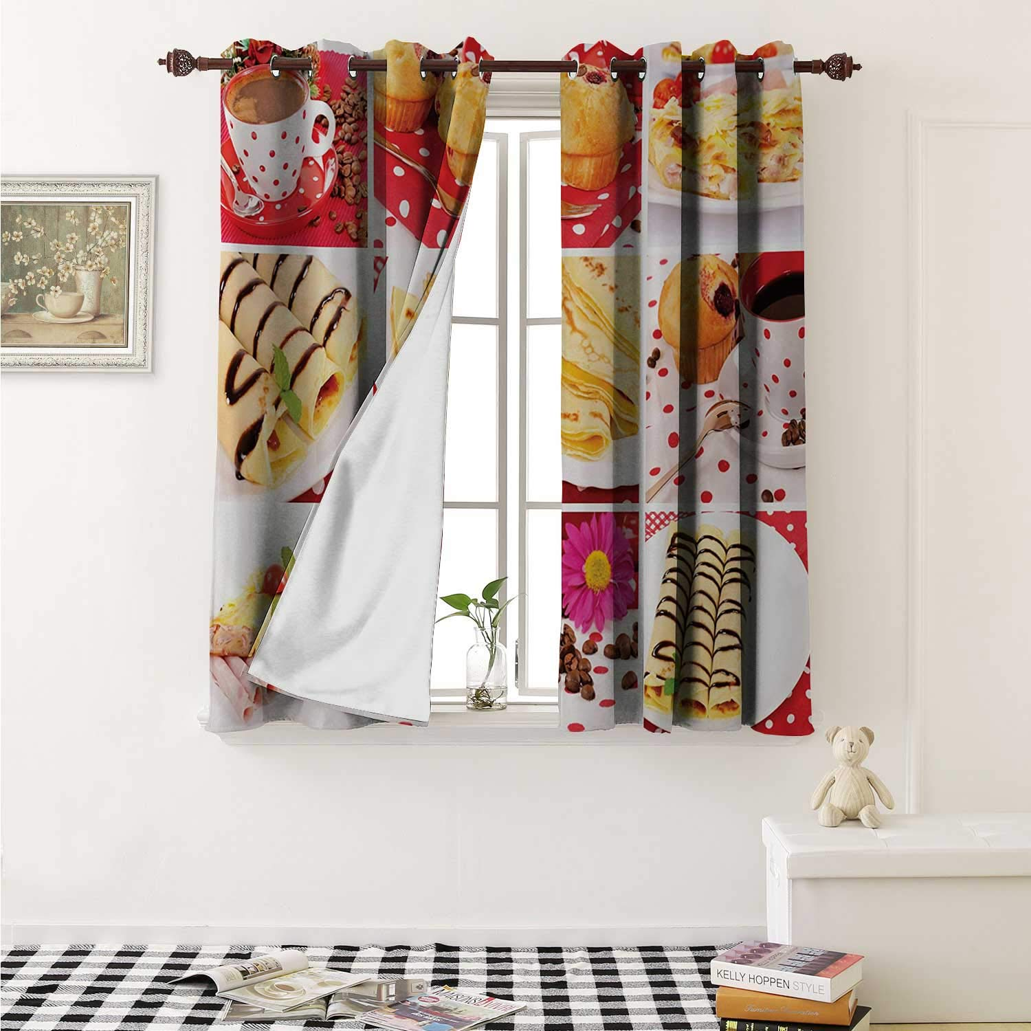 shenglv Coffee Room Darkening Wide Curtains Sweet and Salted Treats Photo Muffins Cupcakes Coffee Beans Collage Artwork Photo Window Curtain Drape W108 x L72 Inch Multicolor by shenglv