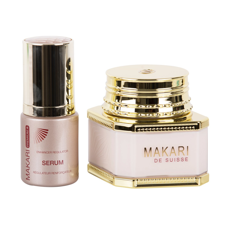 Makari Classic Duopack Premium+ – 3.38 fl.oz Whitening Cream Day/Night & 1.01 fl.oz Enhancer Regulator Serum – Lightening & Toning System for Dark Spots, Acne Scars & Discoloration