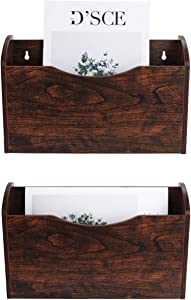 PAG 2 Pockets Hanging File Holder Wall Mount Mail Organizer Wood Magazine Rack, Brown