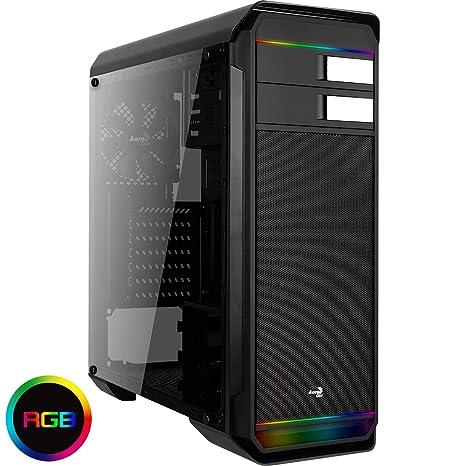 Aerocool AERO500G RGB - Caja Gaming para PC (semitorre, ATX, iluminación RGB,