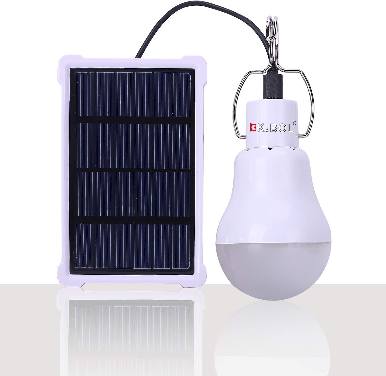 KK.BOL Lámpara Solar Portátil Bombilla LED Panel Solar Recargable Solar Led Luces Lámpara para Interiores Exteriores Luz de Emergencia Tienda de ...