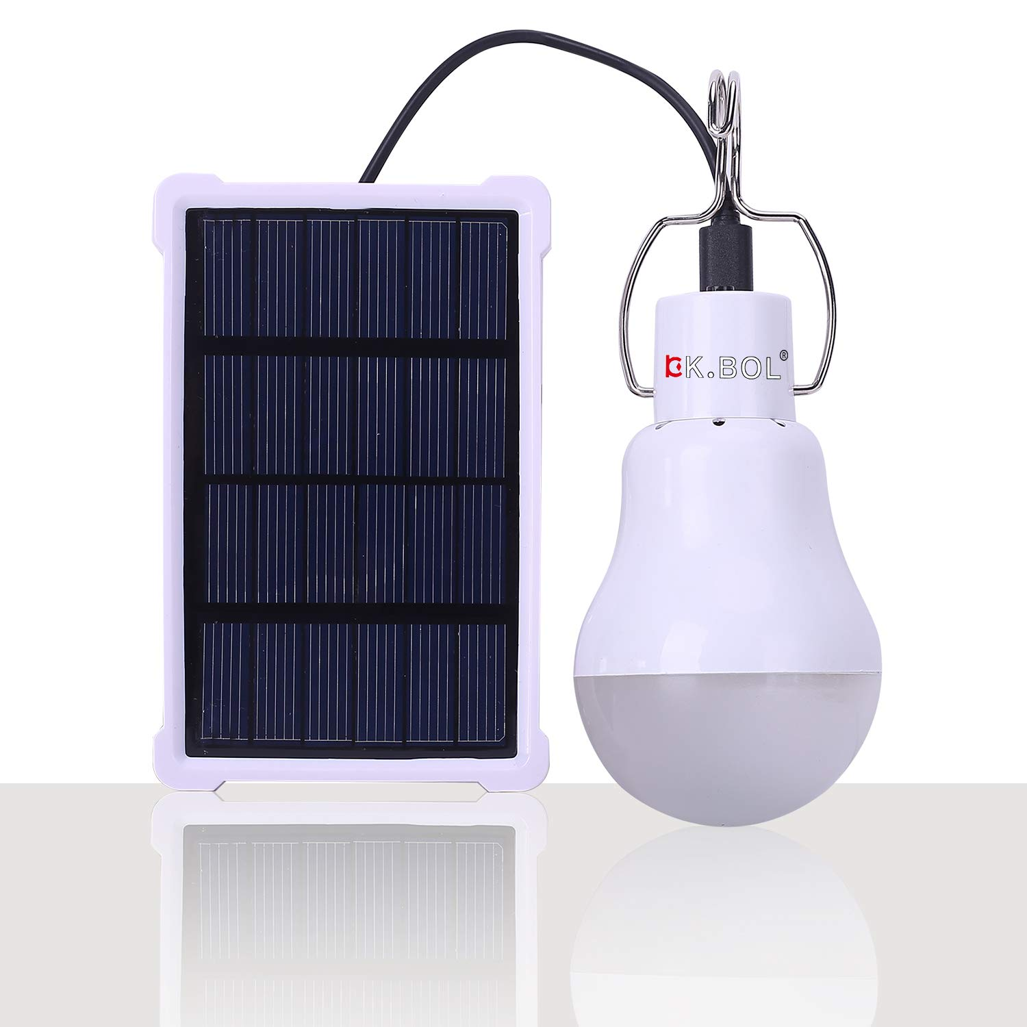 KK.BOL Solar Lamp Portable LED Light Bulb Solar Panel Powered Rechargeable Lantern Lights Lamps for Home Shed Barn Indoor Outdoor Emergency Hiking Tent Reading Camping Night Work Light (1600mAh 150LM)