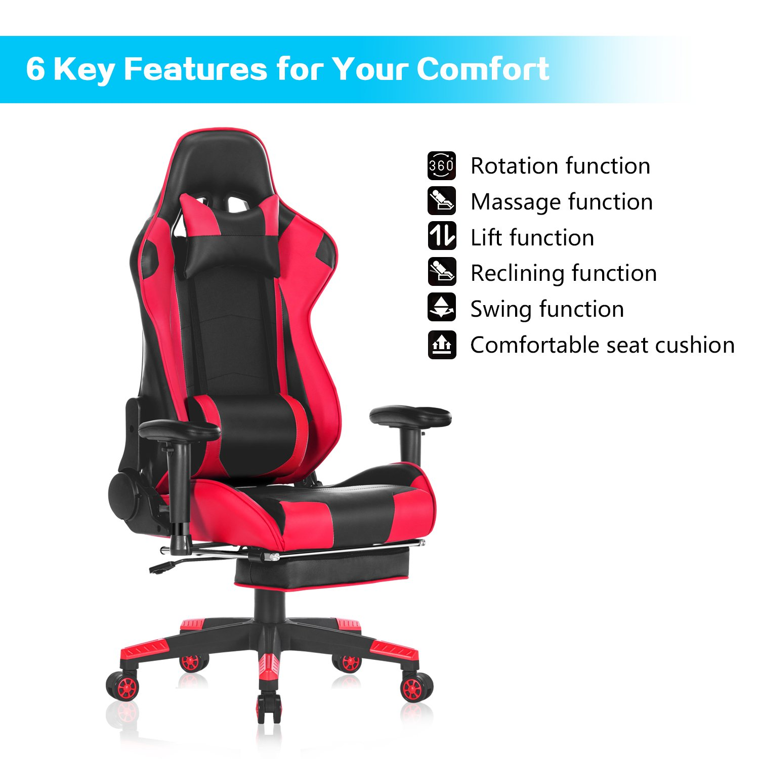 HEALGEN Back Massage Gaming Chair with Footrest,PC Computer Video Game Racing Gamer Chair High Back Reclining Executive Ergonomic Office Desk Chair with Headrest Lumbar Support Cushion GM002 Red