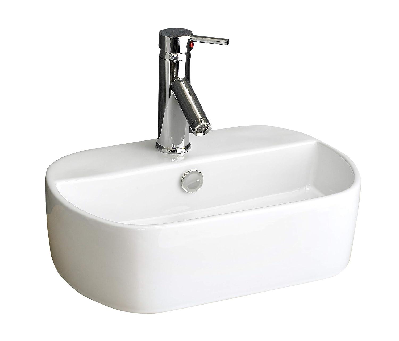 Clickbasin Wall Mounted Oval Ceramic Bathroom Washbasin 445mm x 305mm SIENNA