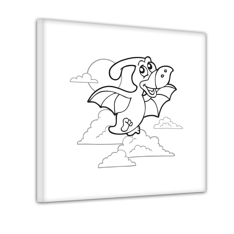 Bilderdepot24 Flugsaurier - Ausmalbild auf Leinwand, aufgespannt auf ...